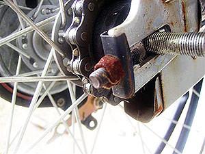 自転車のチェーン調整